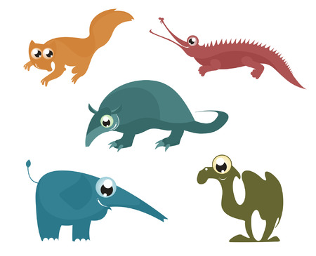 Cartoon funny animals set for design 8 Vector