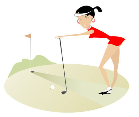 Smiling pretty women on the golf course  Vector