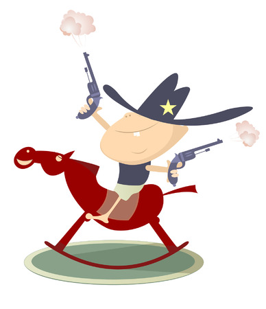 Baby looks like a sheriff with guns is riding a hors Ilustração