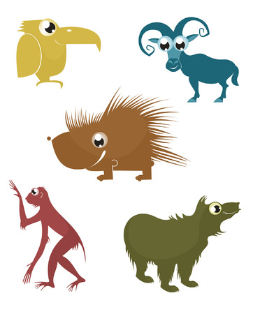 primate biology: Comic cartoon funny animals silhouette set for design