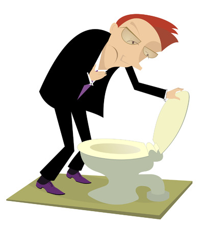 nausea: Man is staying near the toilet and fills nausea Illustration