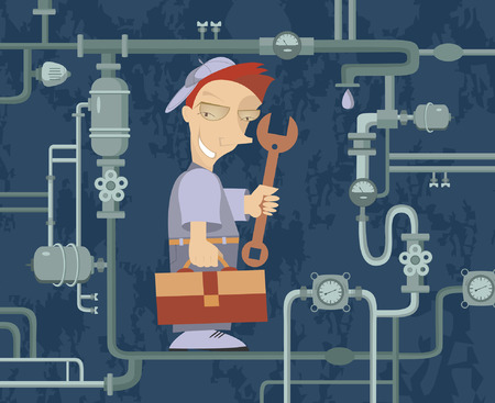 Comic mechanic repairs pipe construction Vector