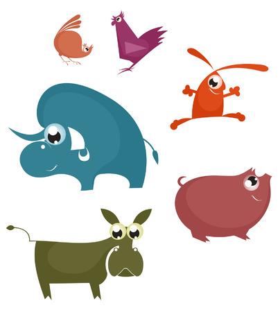 Vector comic farm animal collection for design Vector