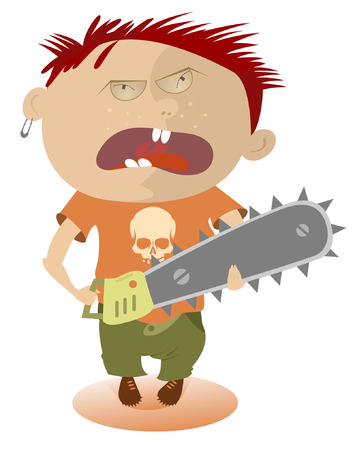 Angry kid holding a chainsaw Vector