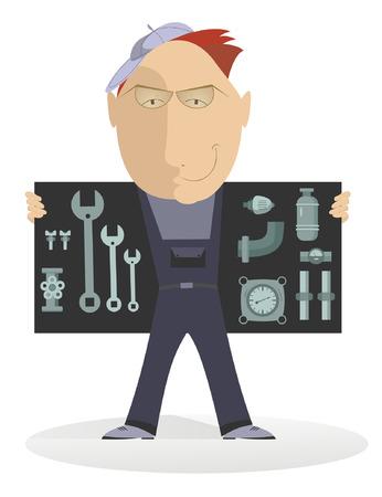 installing: Comic mechanic shows his tools