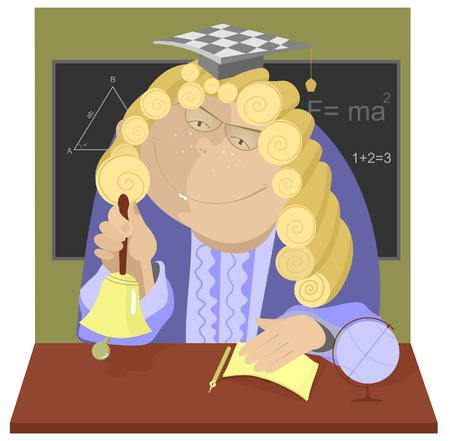 wig: Teacher in a wig rings the bell