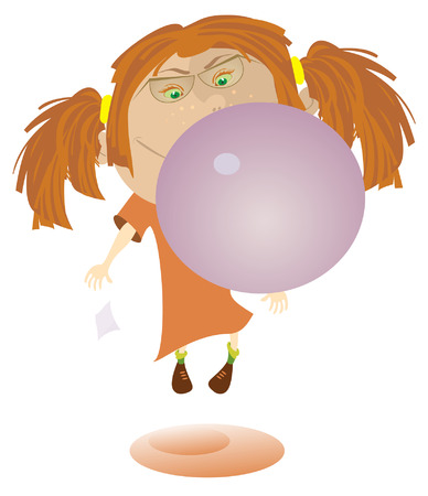 chewing gum: Funny girl blows bubble from the gum and flies Illustration