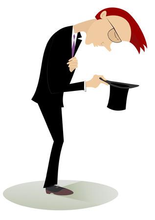 perişan: Karikatür adam şapka tutan ve sadaka ister