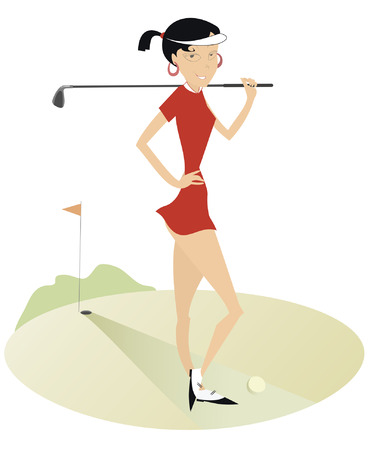 Smiling pretty woman on the golf course Vector