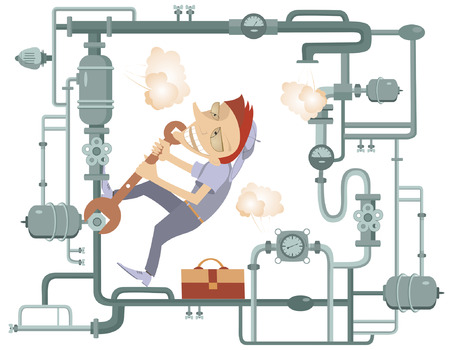Comic mechanic hardly tightens the bolt and repairs pipe construction  イラスト・ベクター素材
