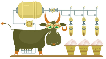 Comic milk farm and cow illustration Vector