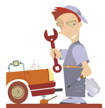repairs: Cartoon comic mechanic repairs a car