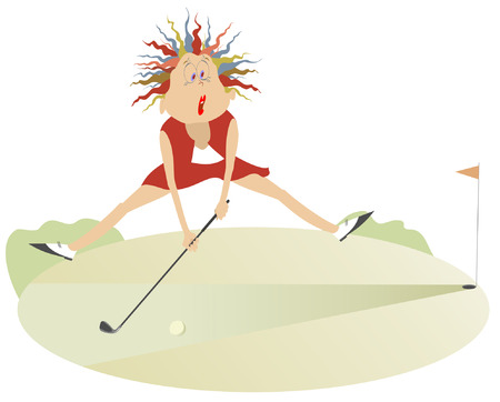 Comic cartoon women is playing golf