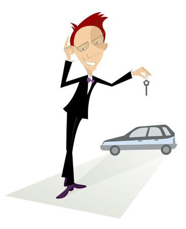 Cartoon Auto-Händler bietet einen Schlüssel aus dem neuen Auto