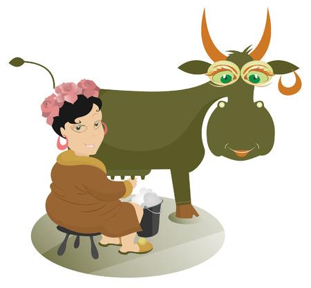 woman drinking milk: Cartoon girl farmer is milking a cow