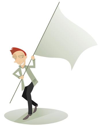 carries: Cartoon cheerful man carries the waved banner