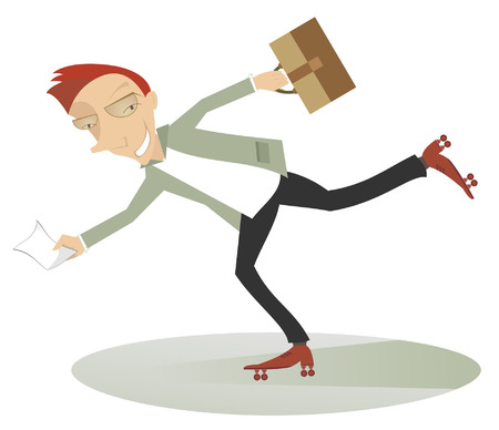 rollerblade: Young man on roller skates rush for business Illustration