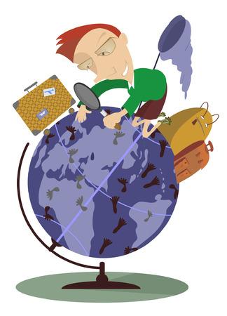 pioneer: Homme tenant une loupe et en suivant les traces dans le monde entier Illustration