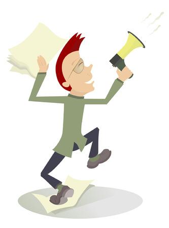 jubilation: Cartoon man with megaphone makes announcement