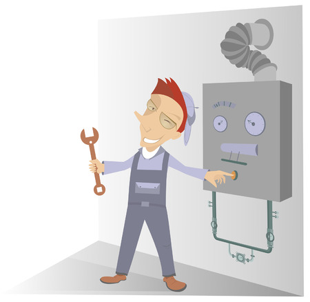 repaired: Comic mechanic has repaired a construction and presses the start button Illustration