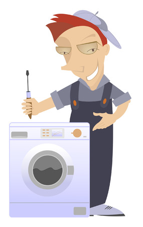 repaired: Comic mechanic has repaired a washing machine washer