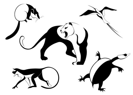 opossum: Decor animal silhouette illustration collection for design Illustration