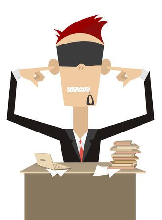생각에 잠겨있는: Pensive businessman does not want to hear, see and speak with anybody 일러스트