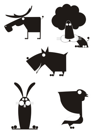 Vector original art animal silhouettes collection for design 11 Illustration