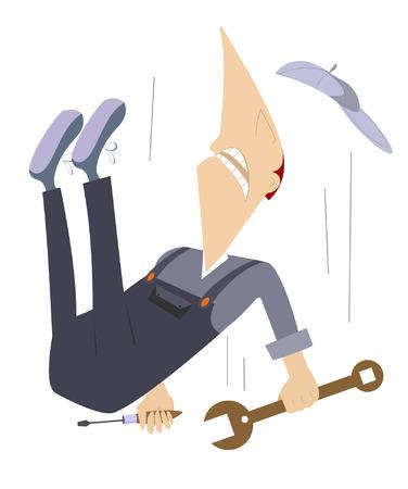 Comic werknemer naar beneden vallen van de hoge bouw