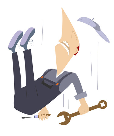 Comic worker is falling down from high construction Vector
