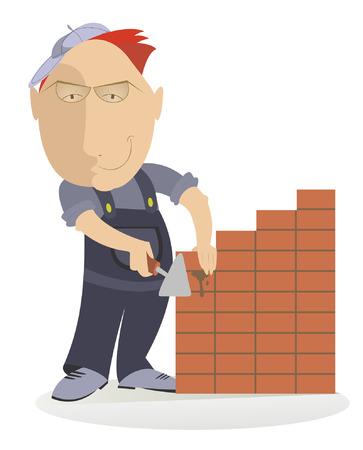 bricklayer: Smiling bricklayer makes the wall Illustration