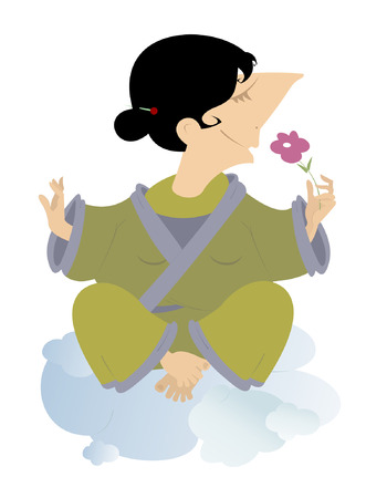 meditates: Women sits on the clouds and meditates