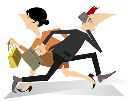 hurry: Hurry and busy man and women Illustration