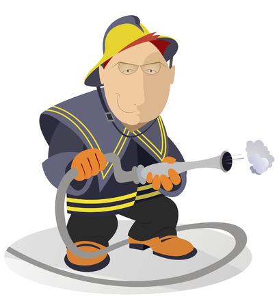 fire hose: Smiling fireman with fire hose Illustration