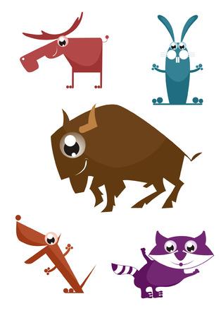 Comic cartoon funny animals set for design Vector