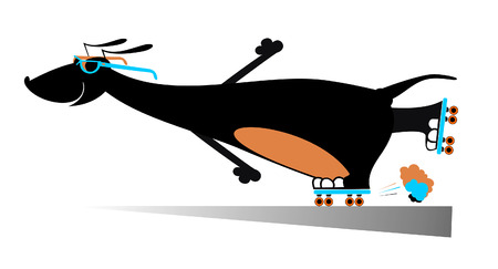 roller skates: Comic dog roller skates silhouette Illustration