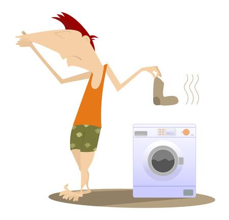 lavadora con ropa: El hombre sostiene su nariz y va a lavar la ropa sucia