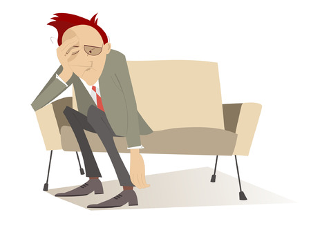 Man in low spirits sits on the edge sofa and puts hands down Illustration