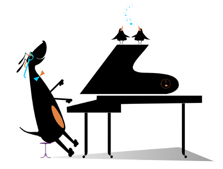 Comic dog plays music by piano and birds pipe