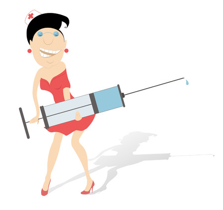Cartoon comic nurse with a big syringe