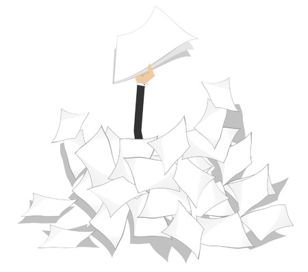 arises: Hand with papers arises from the pile of documents
