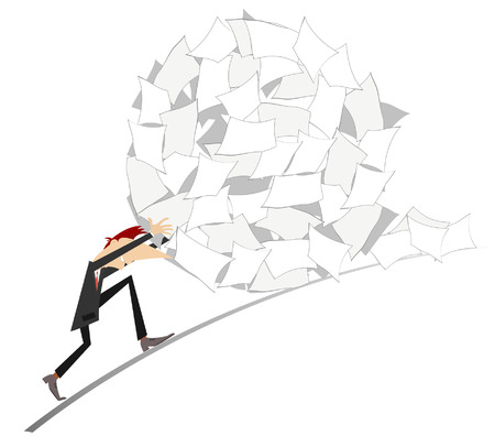 Businessman rolls up a big ball of papers Illustration