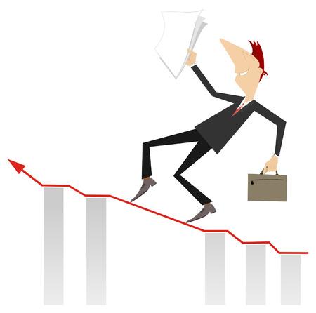 carefully: Businessman carefully walks up to the career top