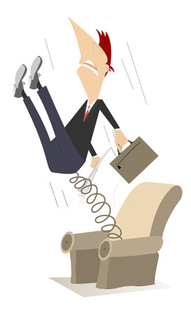 spring out: Man has been pushed out from the armchair by spring Illustration