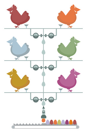 transporter: Hens lay a lot of colored eggs Illustration