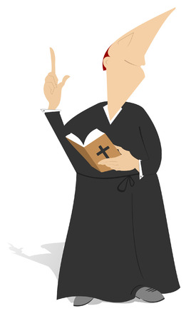 absolution: The priest is holding a prayer book and preaching Illustration