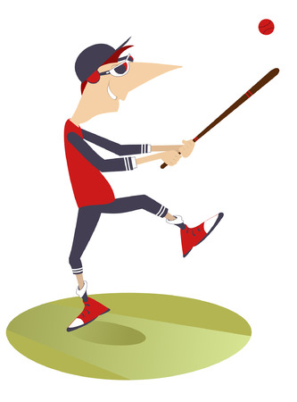 Baseball player hits a ball Illustration