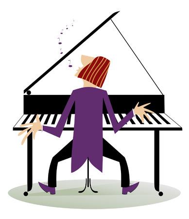 pianista: El pianista está jugando música con inspiración Vectores