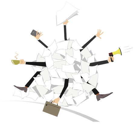 tiredness: Legs and hands of the businessmen stick out from a big ball of papers Illustration