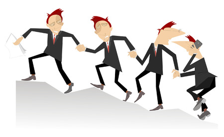 join hands: Group of businessman join hands and help each other in business Illustration